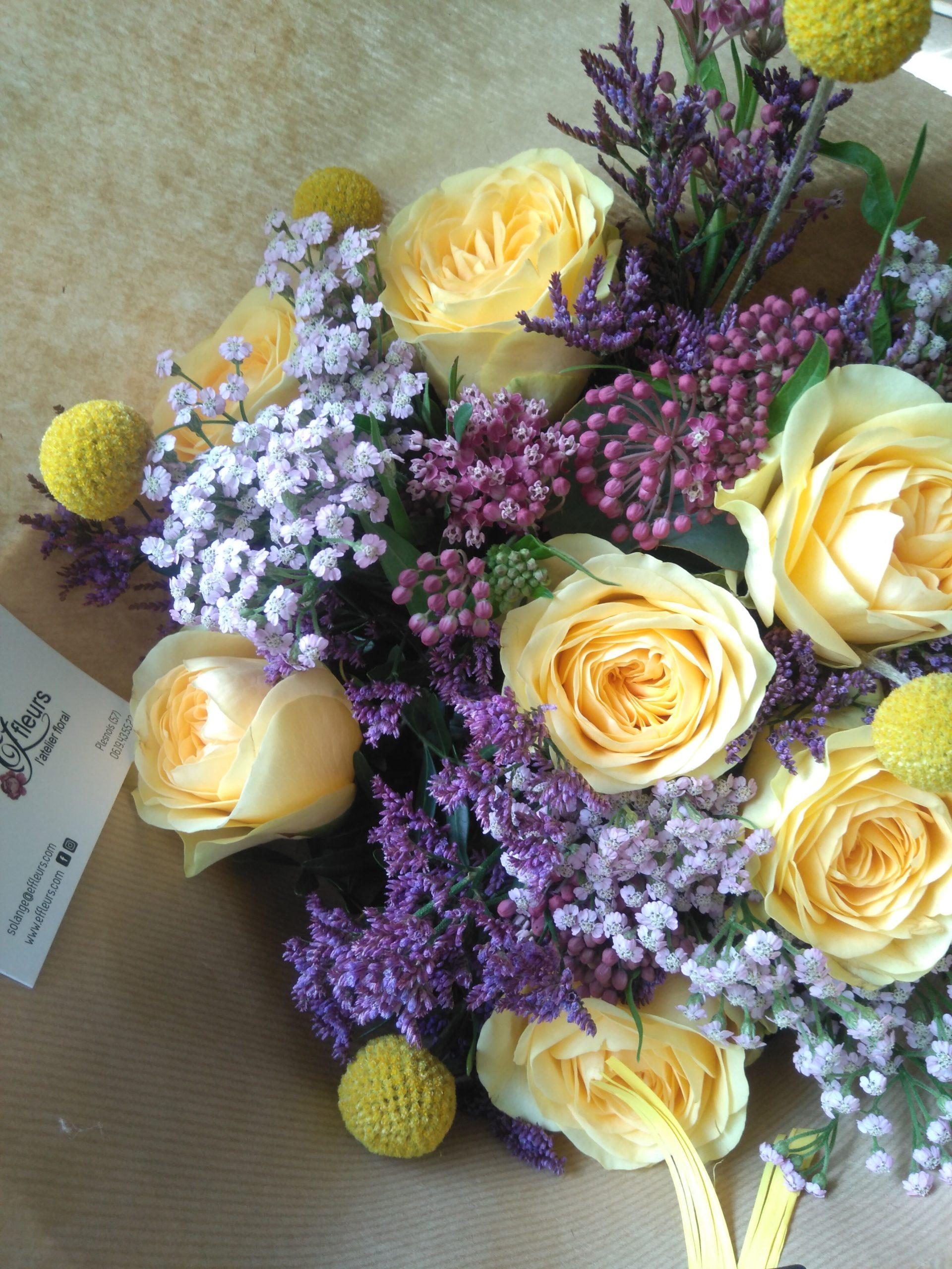 bouquet de fleurs été coloré jaune rose de jardin violet kraft ecoresponsable fleuriste plesnois effleurs