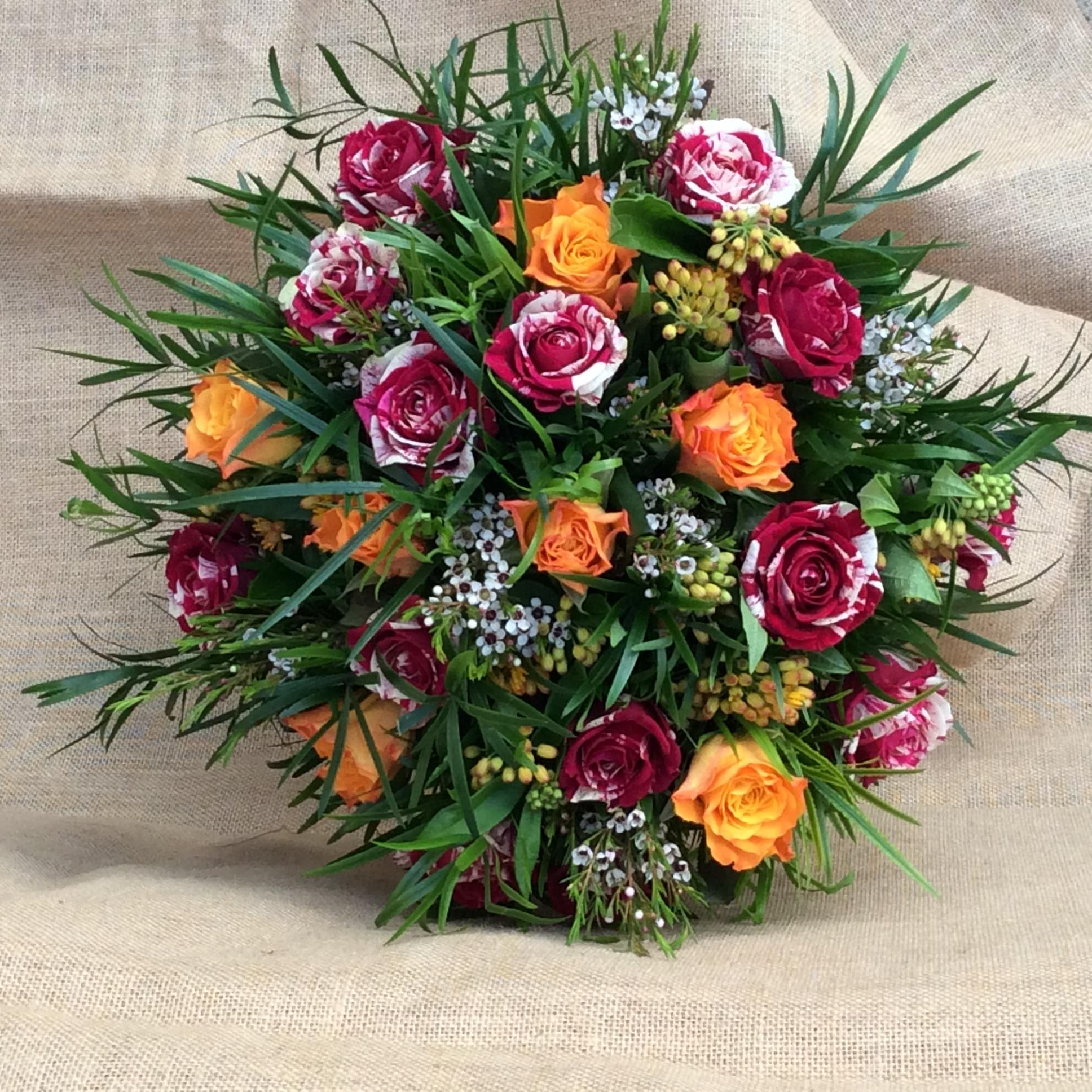 bouquet de fleurs coloré automne rose orange rouge fleuriste woippy effleurs