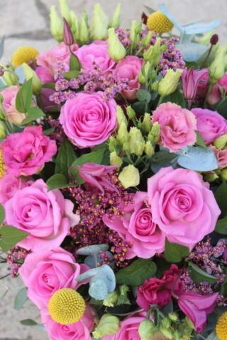 bouquet de fleurs fraiches rose violet jaune roses fleuriste lorry les metz effleurs