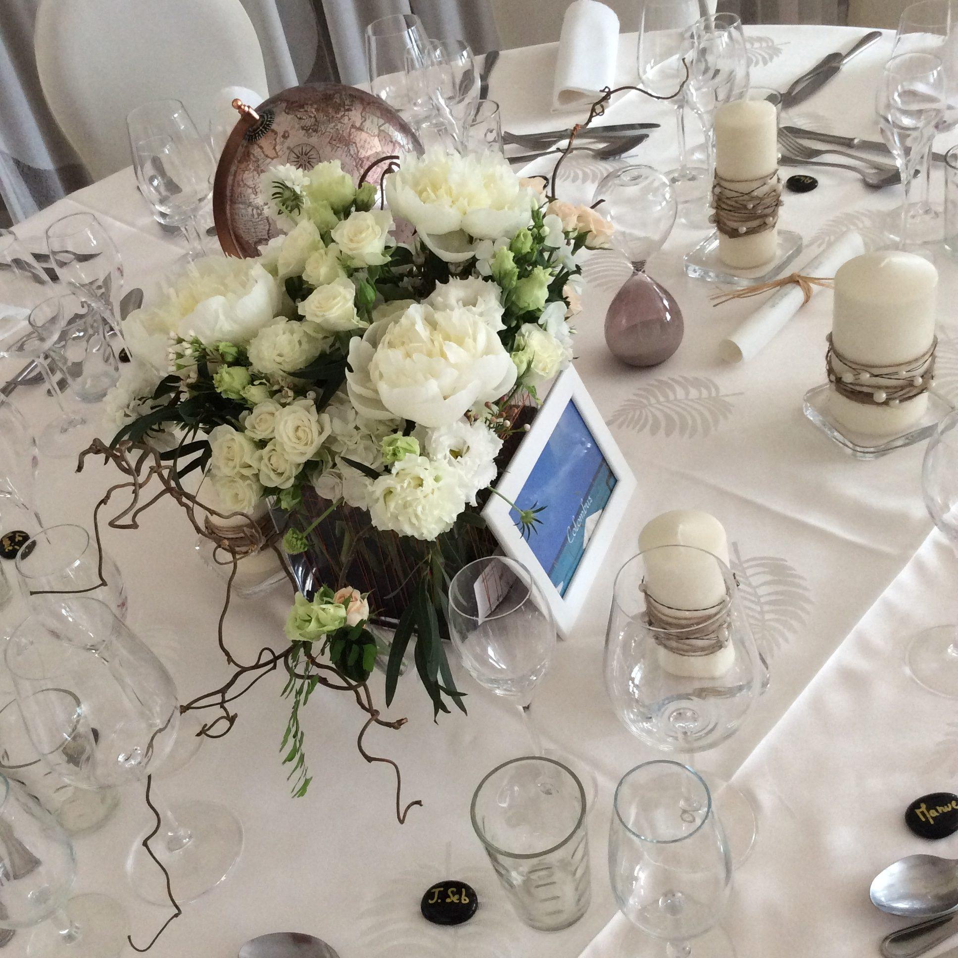 centre de table blanc ecoresponsable fleuriste effleurs
