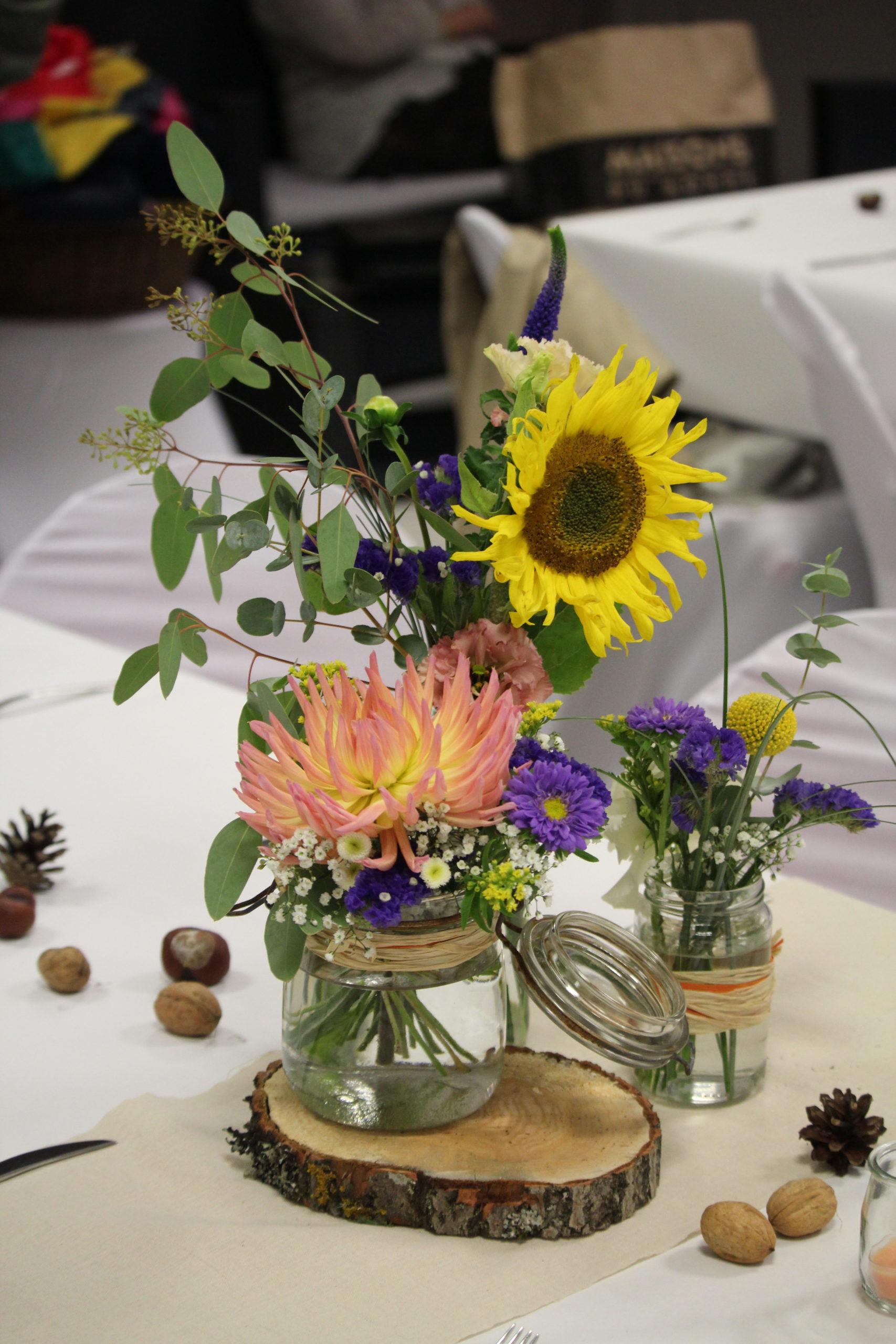centre de table champetre colore fleuriste metz effleurs