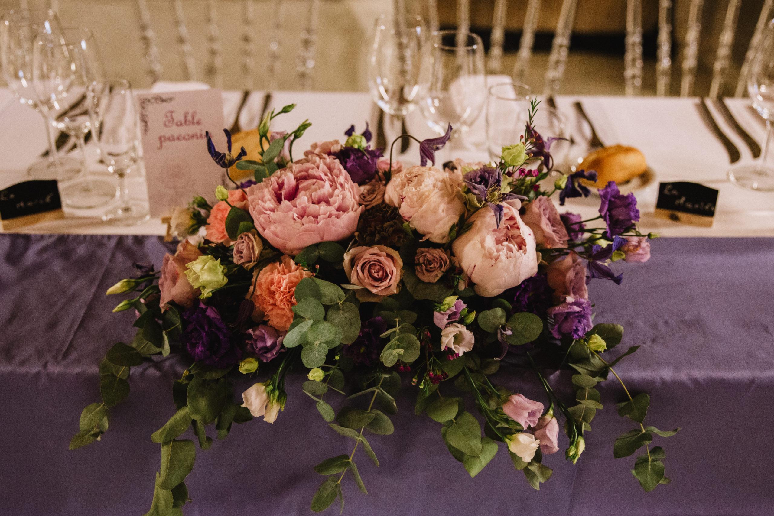 centre de table mariage colore pivoine effleurs