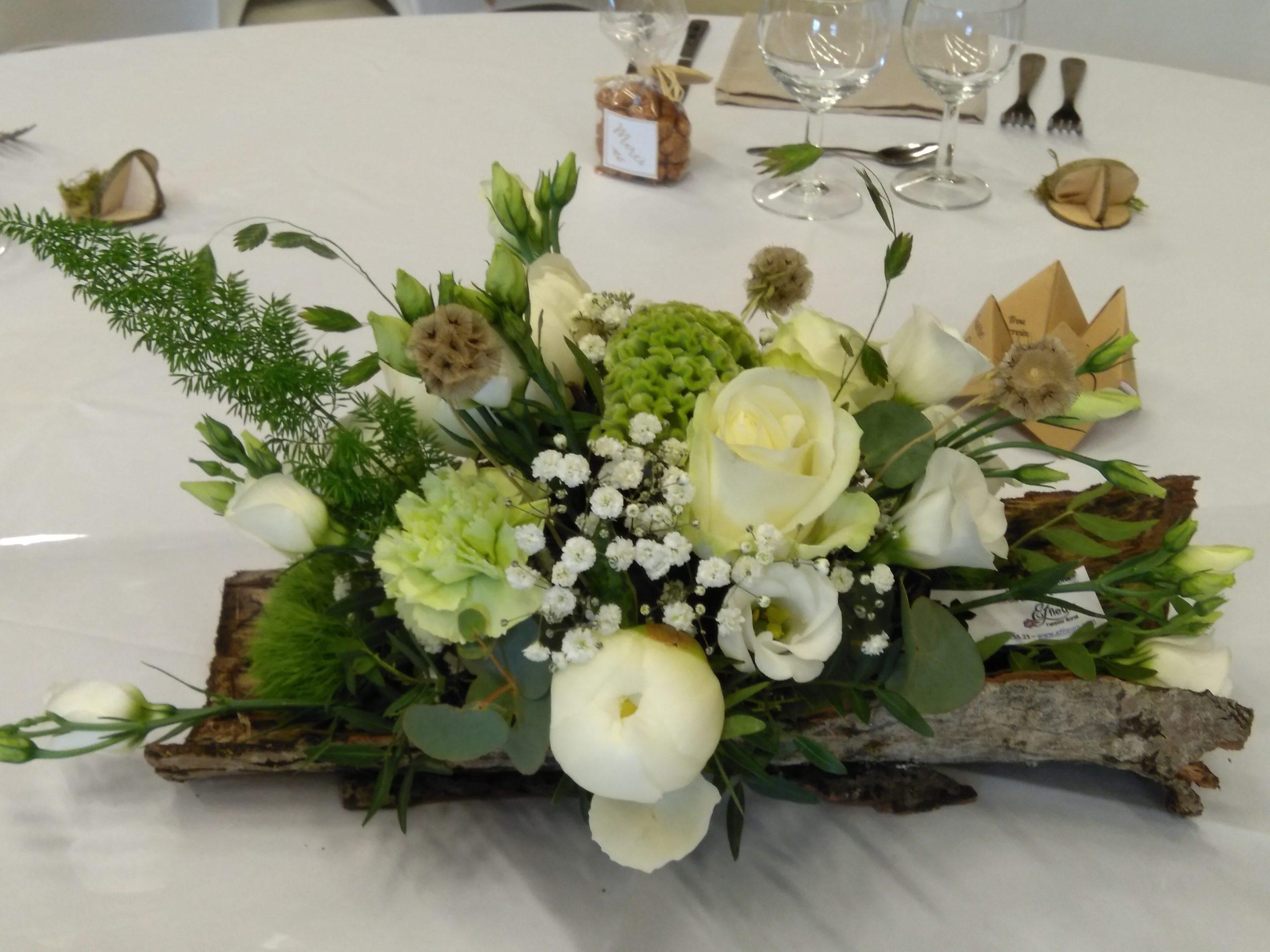 centre de table mariage ecorce fleuriste effleurs