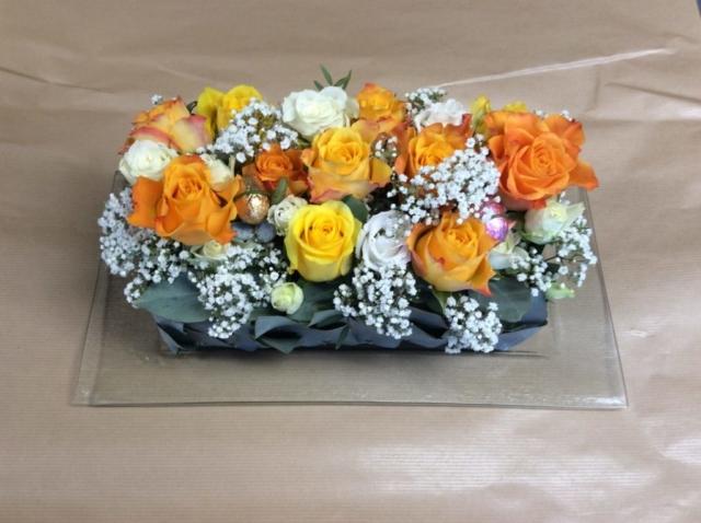 composition florale paques orange atelier creation fleuriste metz effleurs