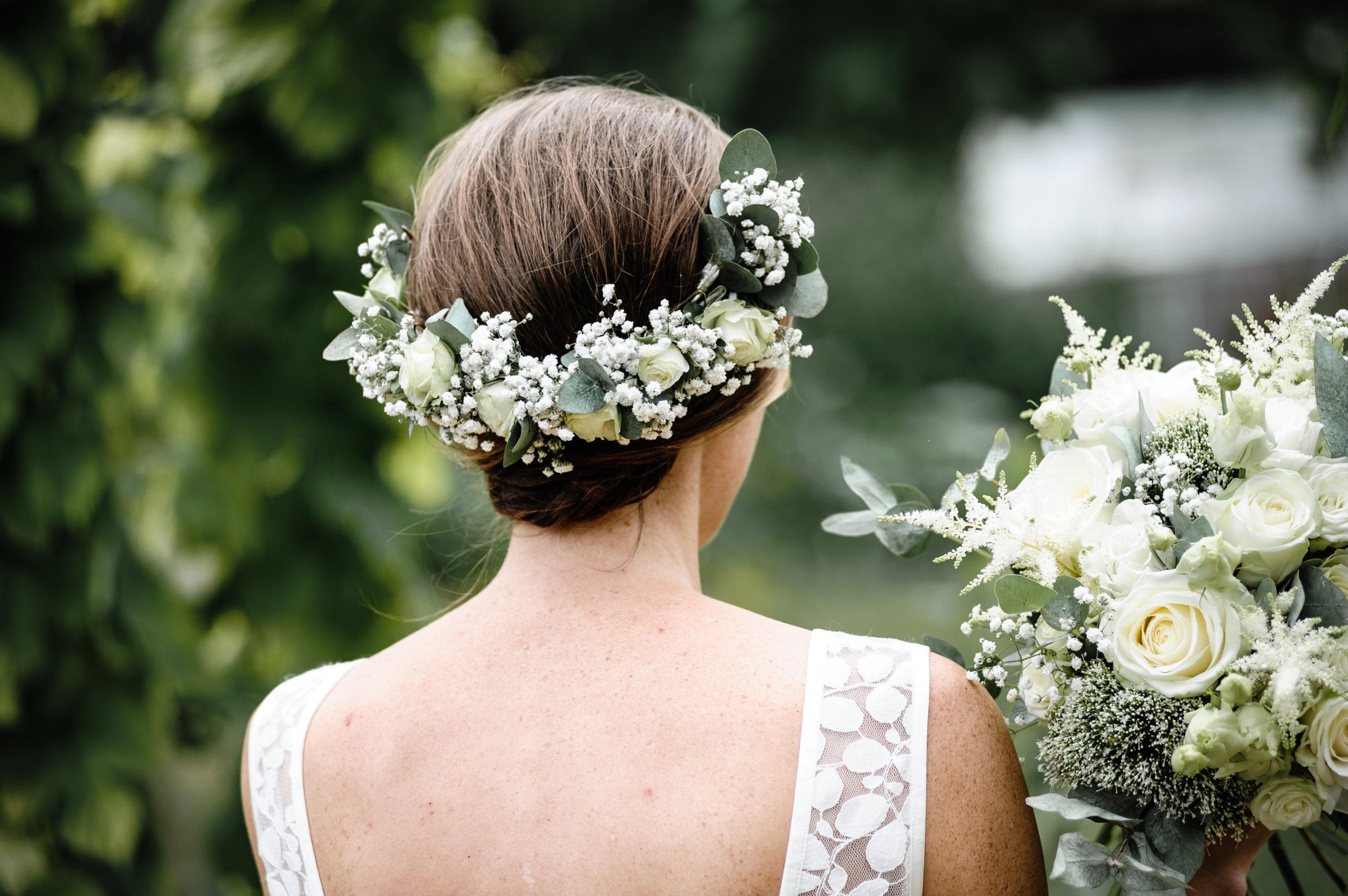 couronne de fleurs mariée blanc eucalyptus meuse effleurs