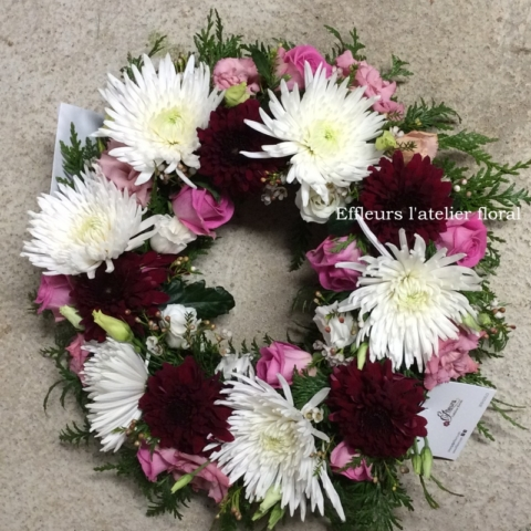 fleurs deuil couronne rose et blanc fleuriste metz effleurs