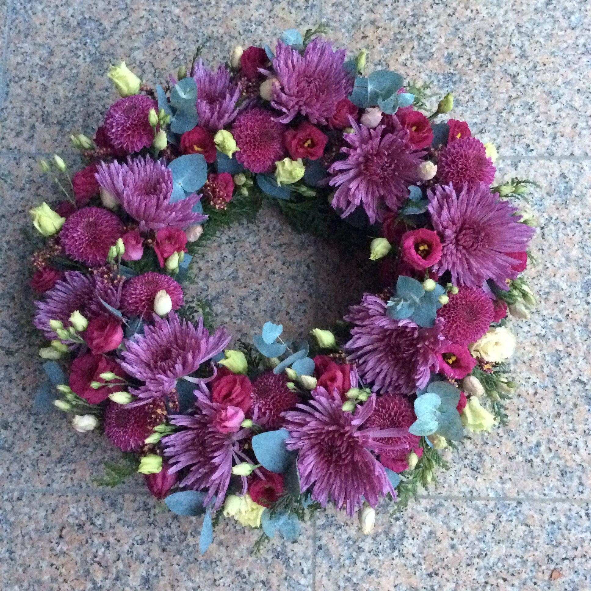 gerbe de fleurs couronne violet fleuriste metz effleurs
