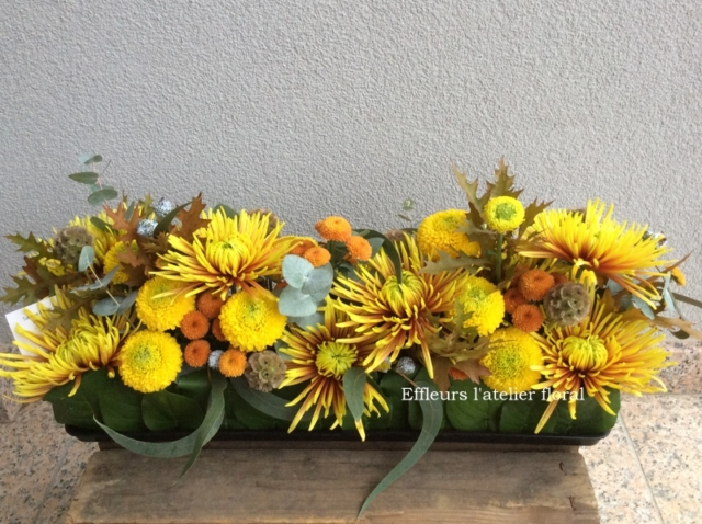 gerbe de fleurs jaune fleuriste metz effleurs