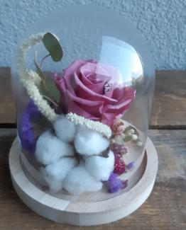 Cloche bois fleuri vieux rose- Effleurs