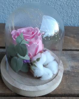 Cloche bois fleuri rose tendre- Effleurs